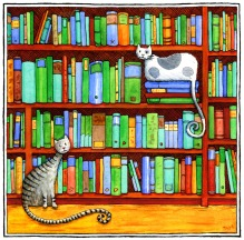 Bookcase Cats